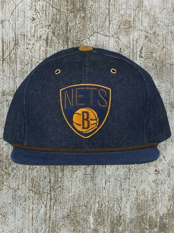 Mũ Nón Snapback Mitchell And Ness Brooklyn Nets Denim Snapback