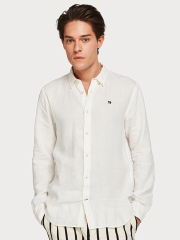 Áo Sơ Mi Tay Dài Scotch & Soda Garment Dyed Linen Regular Fit Shirt