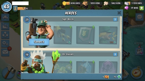 T001) Boom beach level 65, Name change : Available, Power powders 6k7, GB 42 ,17k diamonds, Radar 17