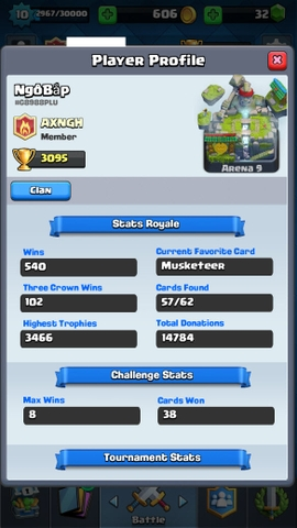 R89 Clash Royale LVL 10, Legendary: (Princess lvl 1, Ice Wizard lvl 1, Lumberjack lvl 1, Inferno Dragon lvl 2), Trophies: 3095
