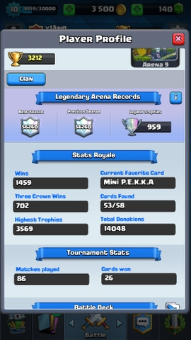 R71 Clash Royale LVL 10 Epics: 17 Legendary: (Princess lvl 2, Miner, Lava) Trophies: 3212
