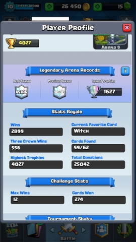 R87 Clash Royale LVL 10, Legendary: (Princess lvl 1, Ice Wizard lvl 1, Miner lvl 1 , Lava lvl 1, Sparky lvl 2, The log lvl 1), Trophies: 4027
