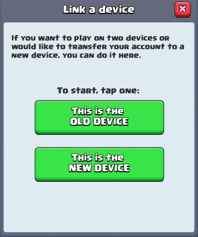 Linking device for Boom Beach/Clash of Clans/Clash Royale account