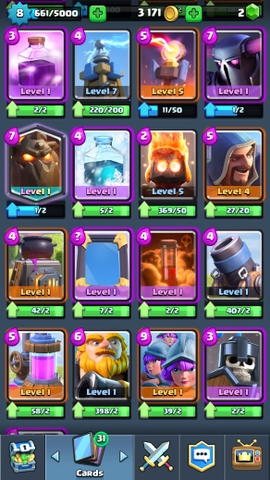 R44 Clash Royale level 8 Epics: 14 Legendary: ( Ice Wizard , Miner , Lava) Trophies: 2633