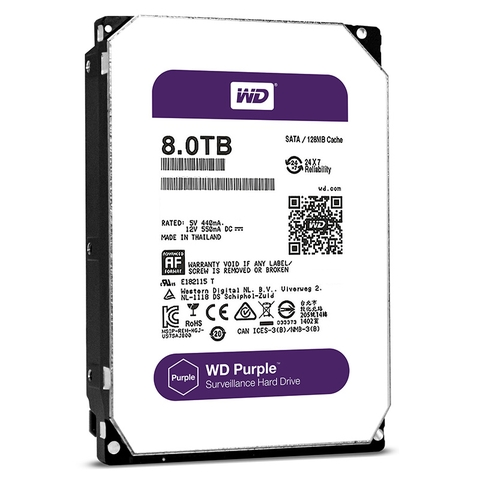Ổ cứng HDD Western Purple 8TB 3.5 inch 7200RPM, Sata 3 ,256Mb Cache (SPC)