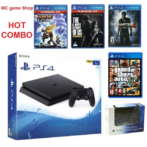 PS4 Slim 1TB- SONY VN 2 tay + 4 games