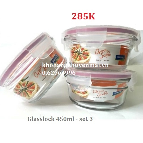 Hôp thủy tinh glasslock 450ml set 3