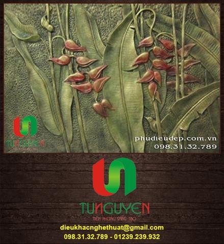 Tranh Phù Điêu Hoa Chuối 01 - Phù điêu hoa lá Trang trí nội ngoại thất