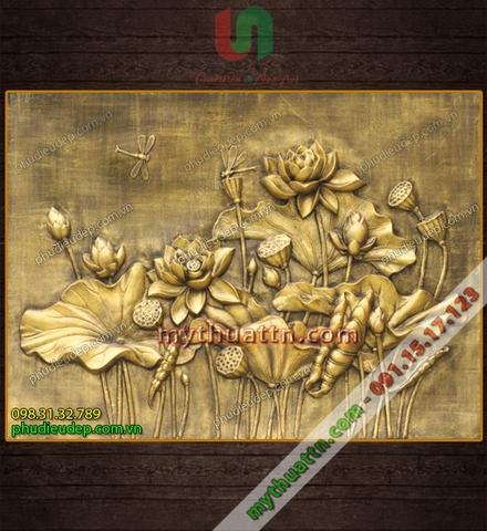 Tranh phù điêu hoa sen mạ đồng 054