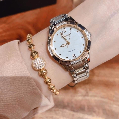CITIZEN EM0454-52A DIAMOND LADIES - ECO-DRIVE - KÍNH CỨNG - 30MM