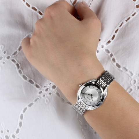 Bulova 96R212 Classic Diamonds Silver-White Dial Ladies Watch 30mm