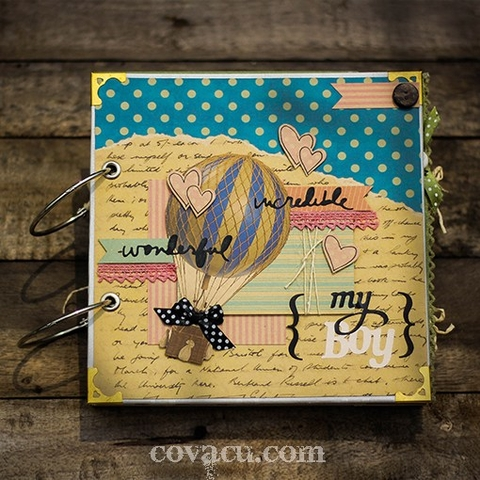 Scrapbook vintage cho bé trai WONDERFUL - MY BOY