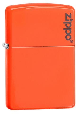Zippo Plain with Logo Neon Orange Matte