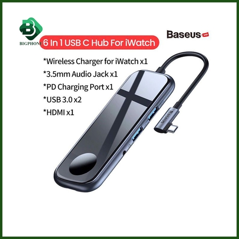 Hub chuyển đa năng Baseus Superlative Multifunctional 2xUSB3.0 + HDMI + Audio + PD + iWatch Charger
