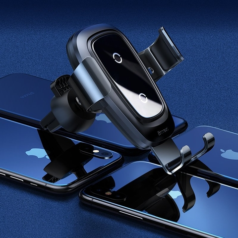 Bộ đế giữ điện thoại tích hợp sạc nhanh không dây dùng cho xe hơi Baseus Metal Wireless Charger Gravity Car Mount(10W, Air Outlet Version)