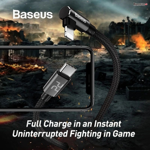 Cáp sạc nhanh C to Lightning dành cho Game thủ Baseus MVP Elbow PD 18W ( Type-C to iP PD Fast charge and Sync Data Cable )