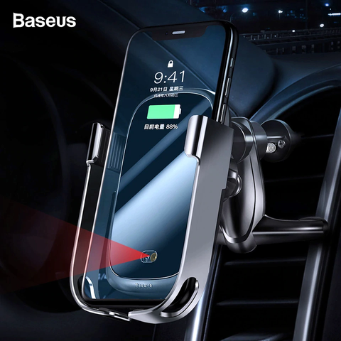 Bộ đế giữ điện thoại tích hợp sạc nhanh không dây Baseus Rock-solid Electric Holder 10W Wireless Charger (Auto Smart Lock by Sensor, Air Vent Car Mount)