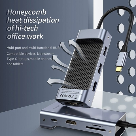 Hub chuyển đa năng Baseus Square Desk Type-C Multi-functional HUB ( Type-C to USB3.0x3 + Type-C (PD)+TF/SD + HDMI 4K + VGA / RJ-45 LAN)