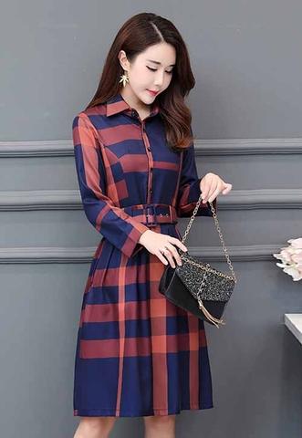 Thời trang nữ: Những mẫu đầm công sở caro mới nhất và những lưu ý khi phối đồ Dam-xoe-tay-dai-hoa-tiet-caro-phoi-that-lung-thoi-trang-s1747-153