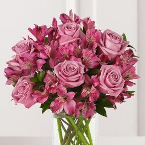 Purple Passion Rose & Lily Bouquet with Vase - CF113