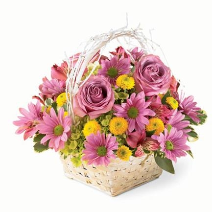 Rustic Purple Happiness Basket Bouquet - SF118