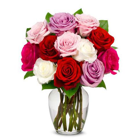 One Dozen Assorted Sweetheart Roses - SF154
