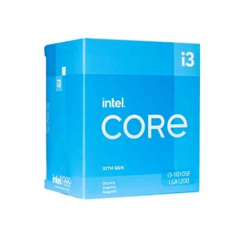 Cpu Intel Core i3-10105F (3.7Ghz Turbo 4.4Ghz, 4 Cores 8 threads, 6MB Caches, 65W)