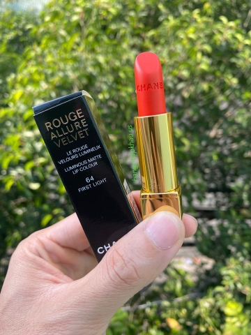 Chanel Rouge Allure Velvet Màu 64 First Light CAM TƯƠI NỔI BẬT - MADE IN FRANCE.