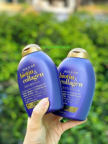 Set Dầu gội và xả OGX Biotin & Collagen (2x385ml) - MADE IN USA.
