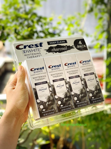 Set Kem đánh răng than hoạt tính Crest 3D White Charcoal Toothpaste (4x116g) - MADE IN USA.