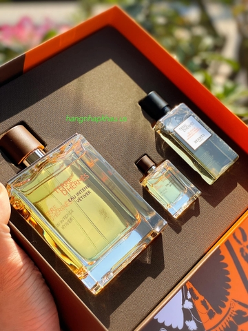 Gift Set Hermes Terre D'Hermes Eau Intense Vétiver EDP - MADE IN FRANCE.