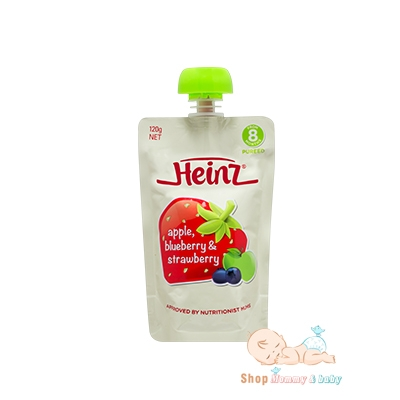 Trái cây nghiền Heinz 8m Apple, Blueberry and Strawberry 120g