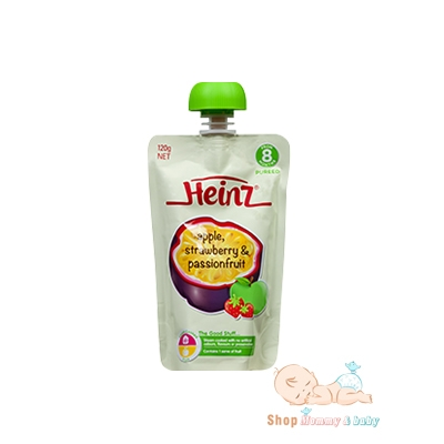 Trái cây nghiền Heinz 8m Apple, Strawberry and Passionfruit 120g