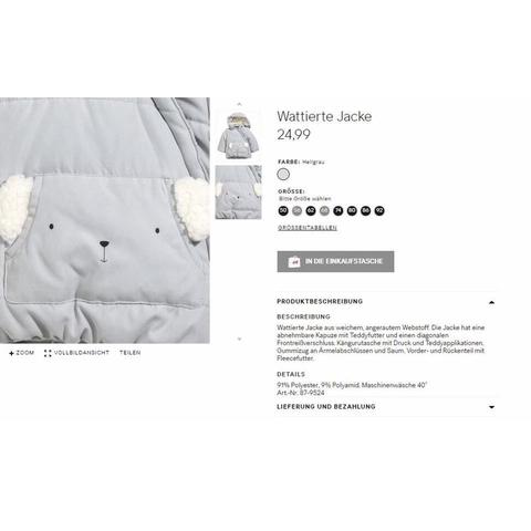 Áo khoác HM xuất dư có túi hình cừu cực xinh