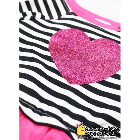 Váy có đính kim tuyến trái tim hồng ngọt ngào
