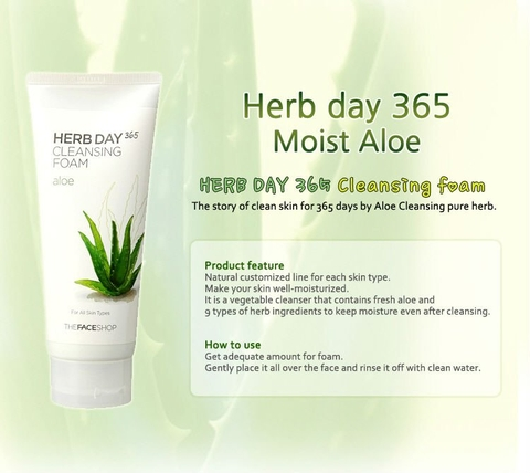 Sữa rửa mặt Herb Day 365 Cleansing Foam TheFaceShop