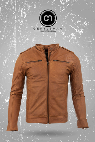 Áo Da Thật, Áo Da Bò Thật LEATHER JACKET - GM-LJC-P602K-Y