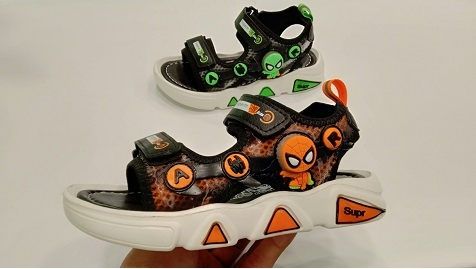 SANDALS SPIDERMAN BLACK ORANGE