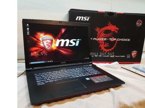 MSI GP72 (Intel Core i7-7700HQ 2.8GHz, 8GB RAM, 256GB SSD + 1TB HDD, VGA NVIDIA GeForce GTX 1050 Ti, 17.3 inch Full HD)