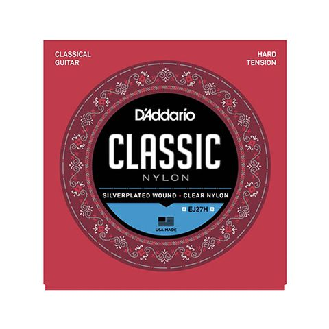 D'Addario EJ27H Student Nylon Classical Guitar Strings, Hard Tension, Clear/Silverplated Wound
