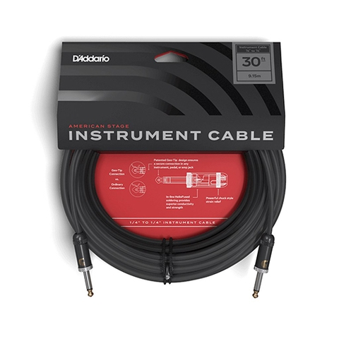 D'Addario PW AMSG 30 American Stage Instrument Cable 30ft
