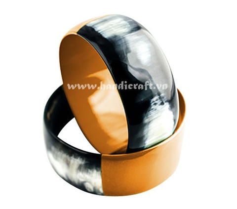 Black horn bangle bracelet with lacquer