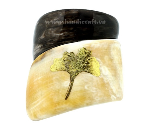 Buffalo horn with gold leave bangle bracelet