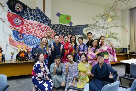 IATSS Forum participants in Japanese traditional clothes in ASEAN cultural exchange day