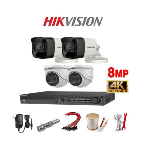 TRỌN BỘ 4 CAMERA HIKVISION-ANALOG Dimond 8MP Full 4K