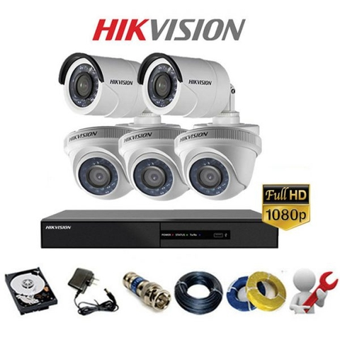 TRỌN BỘ 5 CAMERA HIKVISION-ANALOG GOLD 2A Full HD