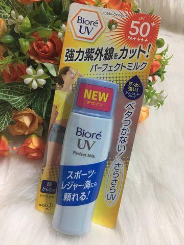 Kết quả hình ảnh cho Kem chống nắng Biore UV Perfect Milk Nhật Bản
