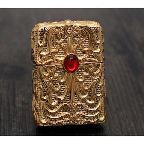 Zippo vàng đính đá quý Rubi