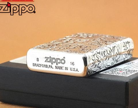 Zippo bạc hoa