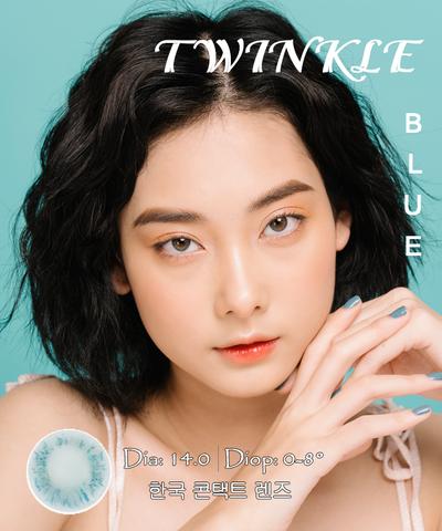 Kính áp tròng TWINKLE BLUE xanh biếc - Lens Hàn Quốc